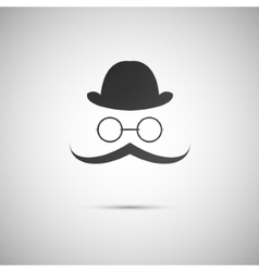 black hat with a mustache and glasses vector image