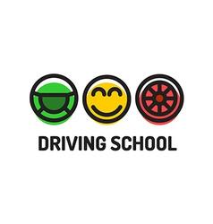 Driving school logo template Symbols of driving vector image vector image