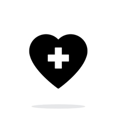 Heart with medical cross icon on white background vector image vector image