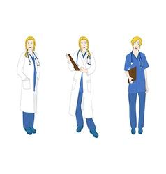 Medical Staff Woman Full Body Caucasian Color vector image