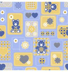 seamless from hearts and bears vector image vector image
