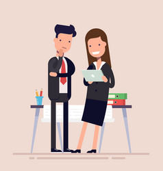 Business people man and woman enjoy tablet near vector