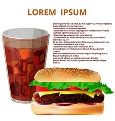 glass of cola hamburger fast food menu vector image