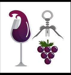 glass splashing wine grape and take out cork vector image vector image
