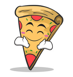 happy face pizza character cartoon vector image vector image