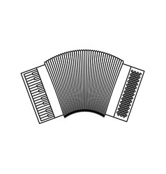 Monochrome silhouette of accordion icon vector