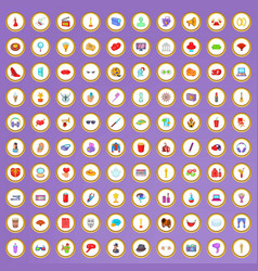 100 cinema icons set in cartoon style vector