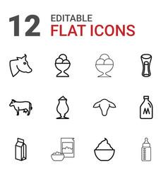 12 milk icons vector