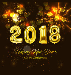 2018 new year background with golden balloon vector image