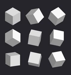 3d cubes box square geometric shape vector image