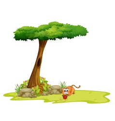 A cat playing under the tree vector