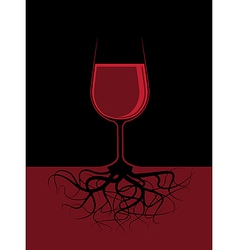A glass a red liquor with roots vector