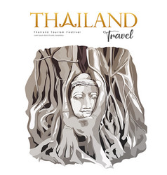 Amazing buddha head in tree roots thailand vector