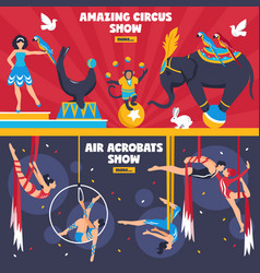 Amazing circus banners set vector