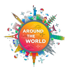 around world - flat design travel composition vector image