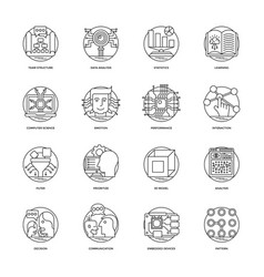 Artificial intelligence line icons 2 vector