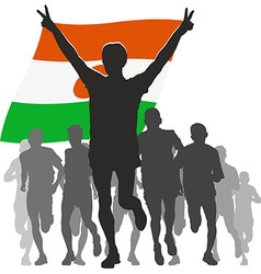 Athlete with the Niger flag at the finish vector