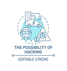 Autonomous hacking possibility concept icon vector