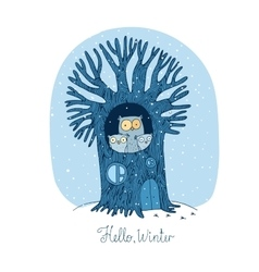 Beautiful tree and family of owls Winter vector image
