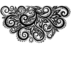 Black and white lace flowers and leaves isolated vector