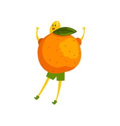 Brave mandarin cartoon character funny humanized vector