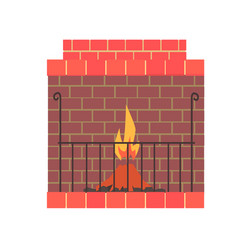 brick home fireplace with fire vector image