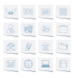 Business and office icons on a piece of paper vector