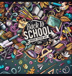cartoon doodles back to school frame vector image