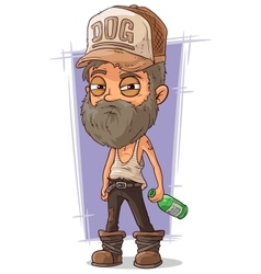 Cartoon old sad homeless man vector