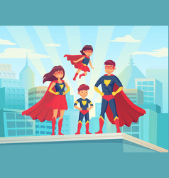 Cartoon superhero family mom dad and childrens in vector