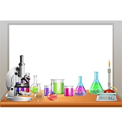 Chemistry equipment on table vector image