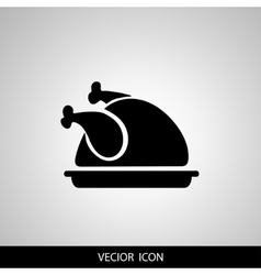 Chicken icon A dish of chicken on a platter vector image