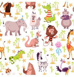 childish animals seamless pattern cute summer vector image