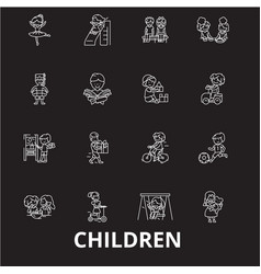 Children editable line icons set on black vector