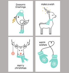 Christmas greeting cards set vector