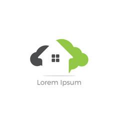 cloud home logo real estate icon vector image