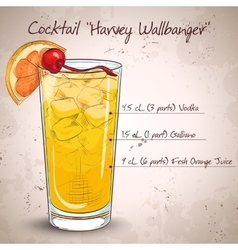 Cocktail harvey wallbanger vector