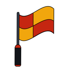 Color image cartoon red and yellow checkered flag vector