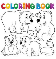 coloring book with polar bears vector image