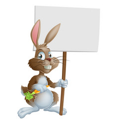 cute easter bunny rabbit carrot sign vector image