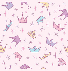 Cute pastel doodle crowns and diadems seamless vector