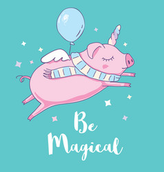 Cute pig as pegasus and unicorn isolated on white vector