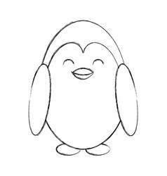 Cute sketch penguin cartoon vector