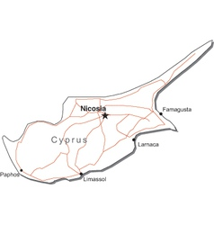Cyprus Black White Map vector image