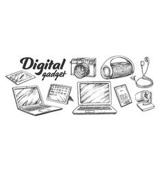 digital audio and video gadgets retro set vector image