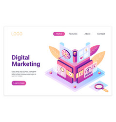digital marketing isometric landing page template vector image