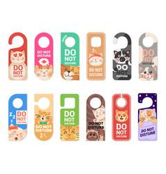 Do not disturb door hanger signs tags with cats vector