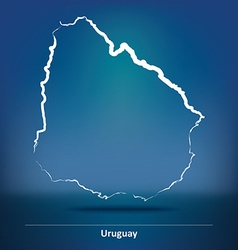 Doodle Map of Uruguay vector image