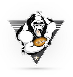 Emblem of the gorilla with the ball for american vector