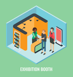 Exhibition booth concept flat isometric vector